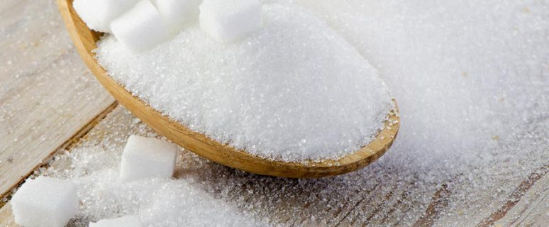sugar on wooden table