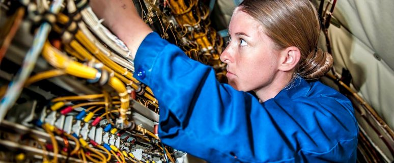 "150609-N-MV308-060 KANEOHE BAY, Hawaii (June 9, 2015) Aviation Electrician's Mate Second Class Morgan Williams, assigned to the ""Golden Eagles"" of Patrol Squadron (VP) 9, checks the wiring of the main load center on a P-3C Orion maritime patrol aircraft as part of the squadron's advanced readiness program. VP-9 is starting preparations for their inter-deployment readiness cycle, conducting training and maintenance to maximize operational performance readiness and efficiency. (U.S. Navy photo by Mass Communication Specialist 3rd Class Amber Porter/Released)"